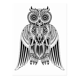 Cool Owl tribal style patterned illustration Postcard