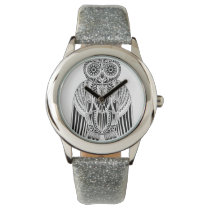 Cool Owl tribal style patterned illustration Wrist Watch