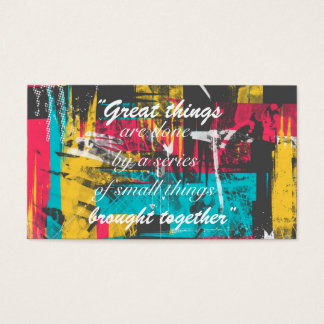 "Cool paint strokes famous quote ""Great things Business Card"