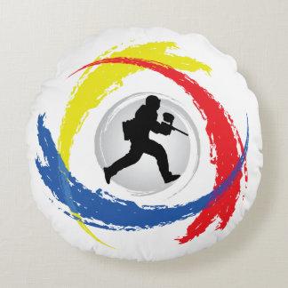 Cool Paintball Tricolor Emblem Round Pillow