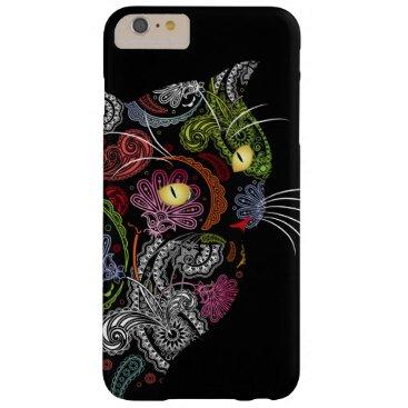Cool Paisley Pattern Black Cat iPhone 6 Plus Case