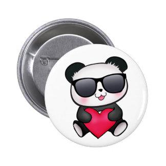 Cool Panda Bear Sunglasses Valentine's Day Heart Button