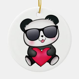 Cool Panda Bear Sunglasses Valentine's Day Heart Ceramic Ornament
