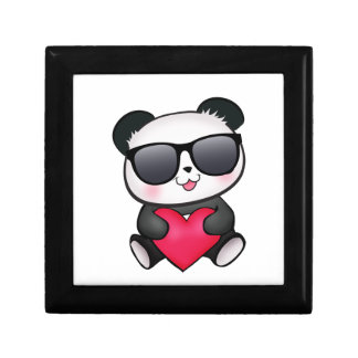Cool Panda Bear Sunglasses Valentineu0026#39;s Day Heart Jewelry Box
