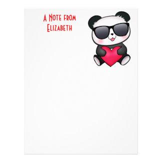 Cool Panda Bear Sunglasses Valentine's Day Heart Letterhead