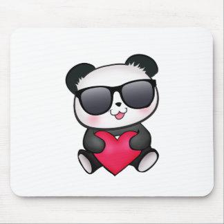 Cool Panda Bear Sunglasses Valentine's Day Heart Mouse Pad