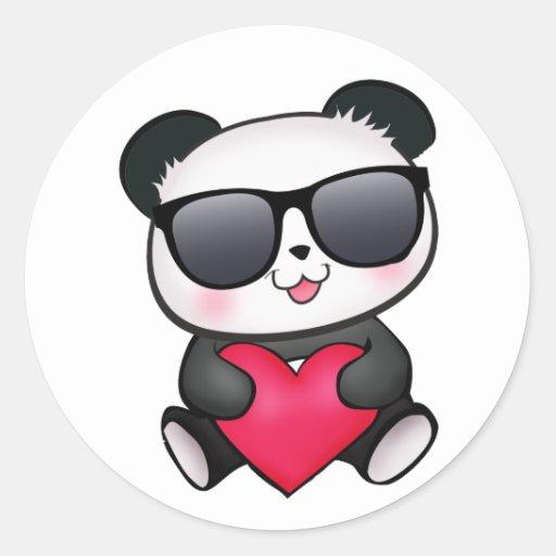 Cool Panda Bear Sunglasses Valentine's Day Heart Sticker ...