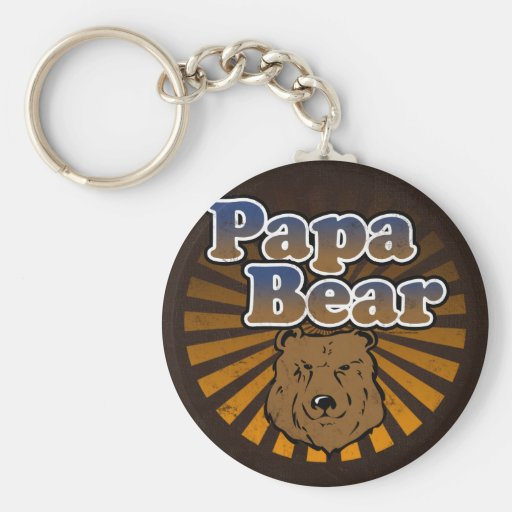 Cool Papa Bear, Brown/Blue/Gold Dad Gift Basic Round Button Keychain