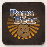 Cool Papa Bear, Brown/Blue/Gold Dad Gift Drink Coasters