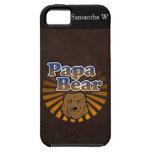 Cool Papa Bear, Brown/Blue/Gold Dad Gift iPhone 5 Case