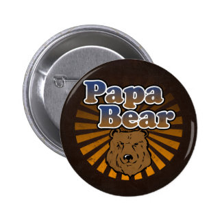 Cool Papa Bear, Brown/Blue/Gold Dad Gift Pinback Button
