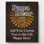 Cool Papa Bear, Brown/Blue/Gold Dad Gift Display Plaque