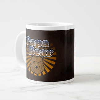 Cool Papa Bear, Brown/Blue/Gold Dad Gift 20 Oz Large Ceramic Coffee Mug