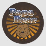 Cool Papa Bear, Brown/Blue/Gold Dad Gift Round Stickers
