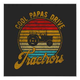 Cool Papas Drive Tractors Vintage Retro 1970s Poster