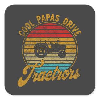 Cool Papas Drive Tractors Vintage Retro 1970s Square Sticker