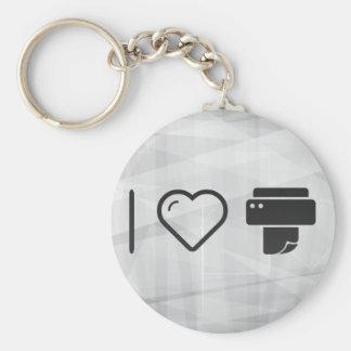 Cool Paper Printer Basic Round Button Keychain