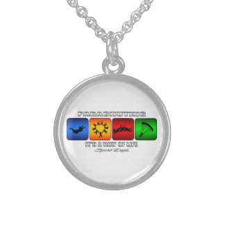Cool Parachuting It Is A Way Of Life Sterling Silver Necklace