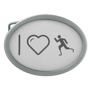Cool Paralympic Runners Oval Belt Buckles
