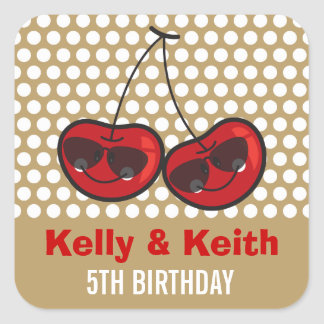 Cool Party Cherries Twins Birthday Party Sticker