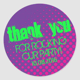 Cool Party Rock Halftone Sticker Purple and Pink