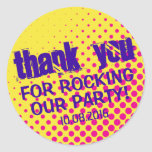 Cool Party Rock Halftone Sticker Yellow and Pink