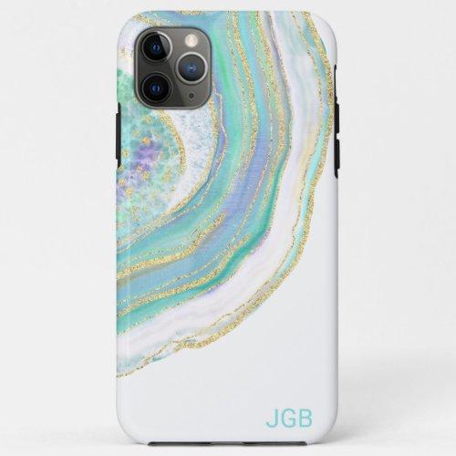 Cool Pastel Aqua and Purple Agate with Monogram Phone Case
