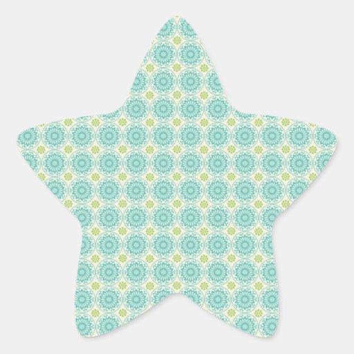 Cool Pastel Blue Retro Circle Pattern Easter Star Sticker