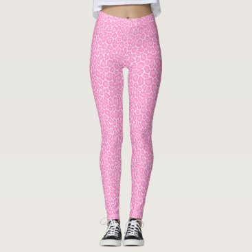 Beach Themed Cool Pastel Pink Cheetah Leopard Pattern Leggings