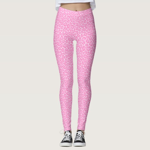 Cool Pastel Pink Cheetah Leopard Pattern Leggings