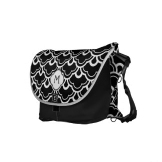 Cool Pattern Black and White Personalized Messenger Bags