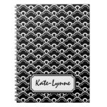 Cool Pattern Black and White Personalized Spiral Note Books