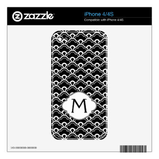 Cool Pattern Black and White Personalized iPhone 4 Decal