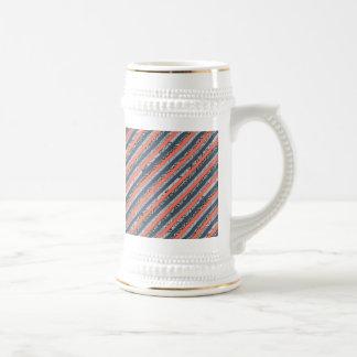Cool Pattern Diagonal Stripes Coral Indigo Purple Beer Stein