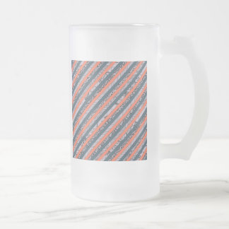Cool Pattern Diagonal Stripes Coral Indigo Purple Frosted Glass Beer Mug
