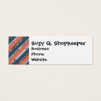 Cool Pattern Diagonal Stripes Coral Indigo Purple Mini Business Card