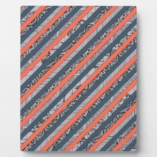 Cool Pattern Diagonal Stripes Coral Indigo Purple Plaque