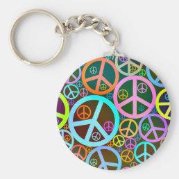 Cool Peace Love Heart Keychain