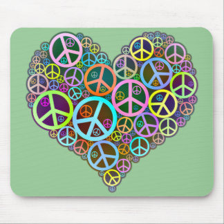 Cool Peace Love Heart Mouse Pad