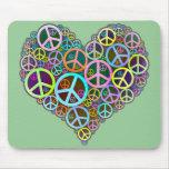 Cool Peace Love Heart Mousepads