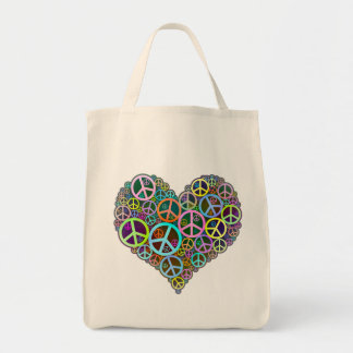 Cool Peace Love Heart Tote Bag