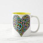 Cool Peace Love Heart Two-Tone Coffee Mug