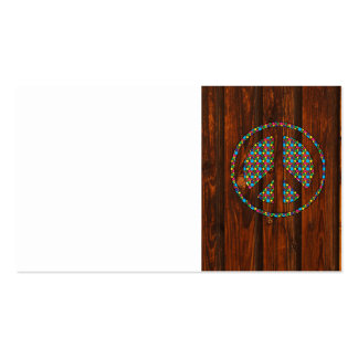 Cool peace polka dot sign colourful wood backgroun business cards