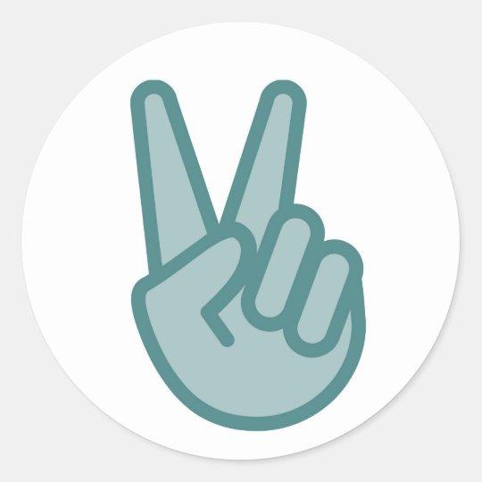 Cool Peace Sign Hand Emoji Classic Round Sticker Zazzle