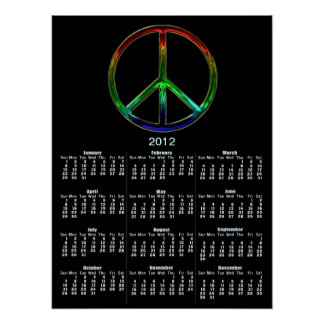 Cool Peace Sign On Black Wall Calendar Poster