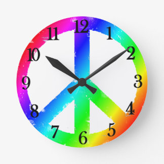 Cool Peace Sign Round Clock