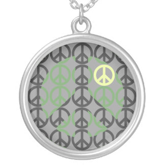 Cool Peace Sign Silver Plated Necklace