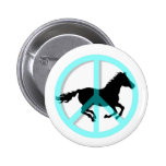 Cool peace symbol horse pinback button
