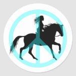 Cool peace symbol horse rider round sticker