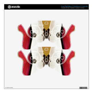 Cool Peach White Modern Abstract Butterfly Skin For PS3 Controller